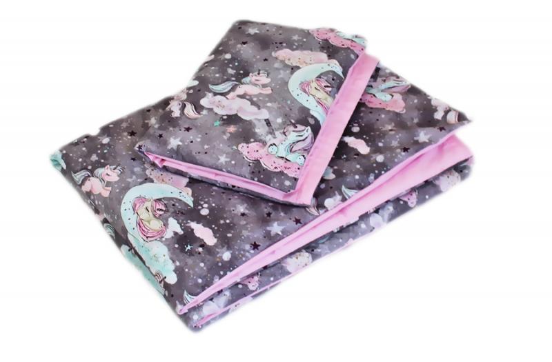 Baby Nellys 2-dielne obliečky 135x100, Nočná obloha, bavlnené - růžová, vínová, B19-135x100