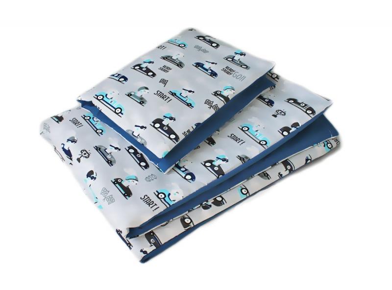 Baby Nellys 2-dielne obliečky 135x100, Zavody, bavlnené - modrá, sivá