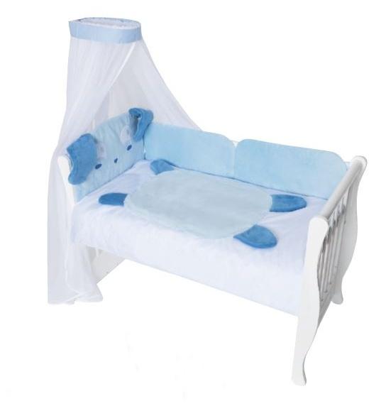 Baby Nellys Mantinel s obliečkami a nebesami Animal, 120x90 - Psík modrý
