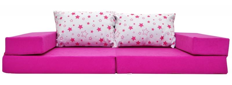 NELLYS Rozkladacia detská pohovka 3 v 1 - P32 - Magic stars - růžové