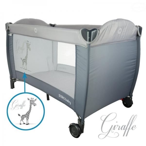 Euro Baby Dětská cestovná posteľ Žirafa - sivá, K19