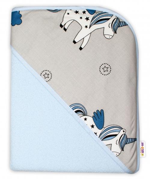 Baby Nellys Detská termoosuška s kapucňou Jednorožec, 100 x 100 cm  - modrá