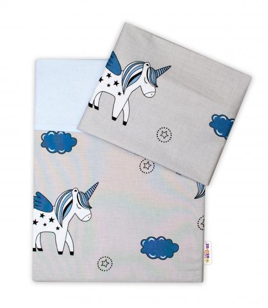 2-dielne bavlnené obliečky Jednorožec - sivá/modrá-120x90