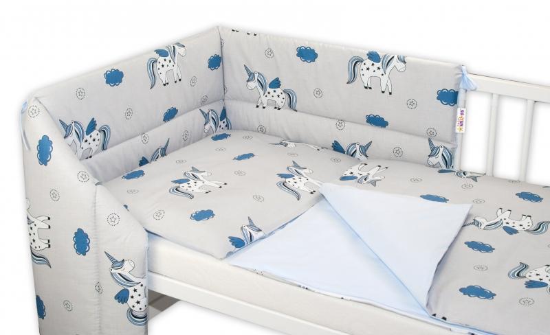 3- dielná sada mantinel s obliečkami Jednorožec - sivá/modrá, 120x90 cm