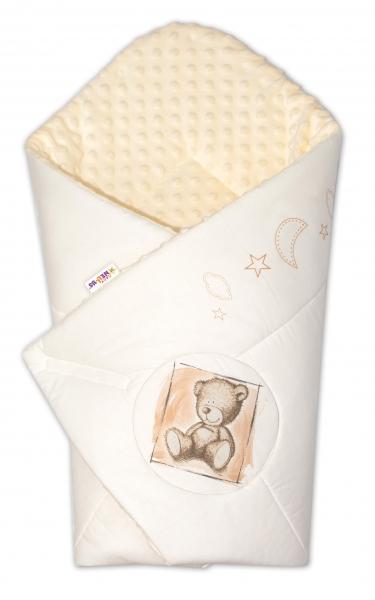 Baby Nellys Zavinovačka, 75x75cm, bavlnená s Minky by Teddy - piesková, smotanová