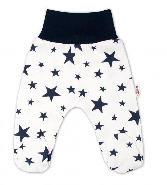 Bavlnené dojčenské polodupačky Baby Nellys ® - smetanové, hviezdičky - granátové