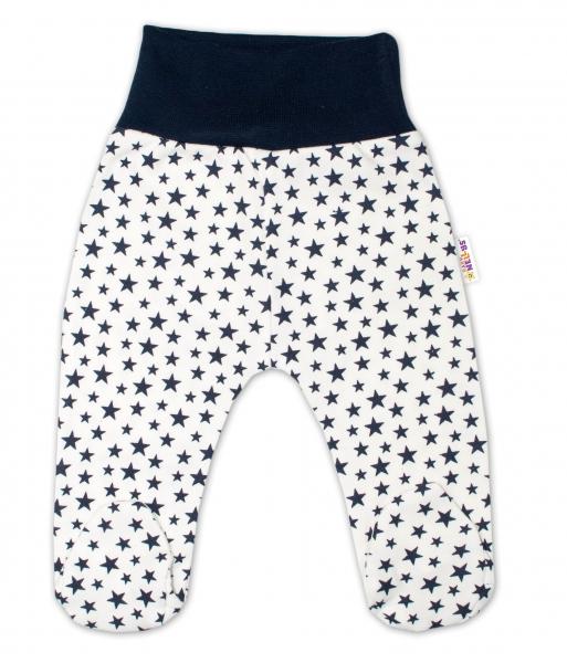 Bavlnené dojčenské polodupačky Baby Nellys ® - smetanové, mini hviezdičky - granát.,veľ.68