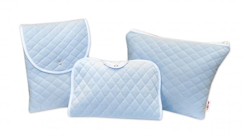 Sada príručných tašiek, prešívaná / modrá, 3ks
