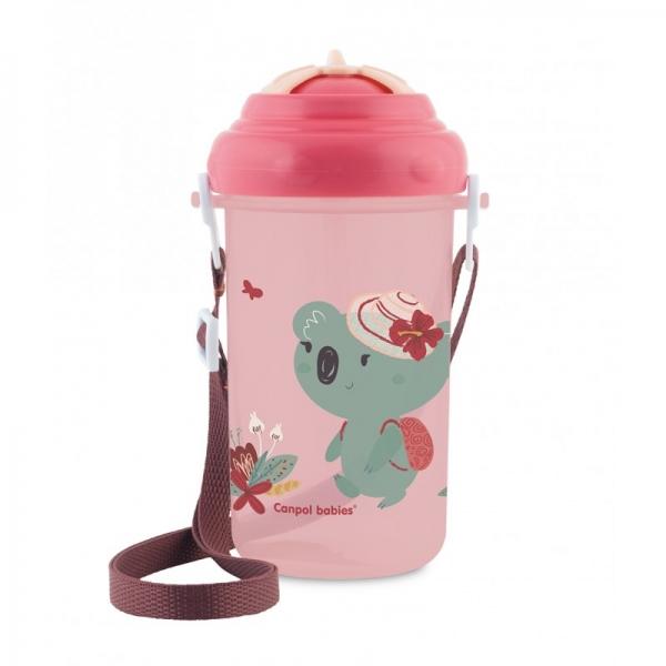 Canpol babies Športová fľaša so slamkou Adventure - Koala ružová