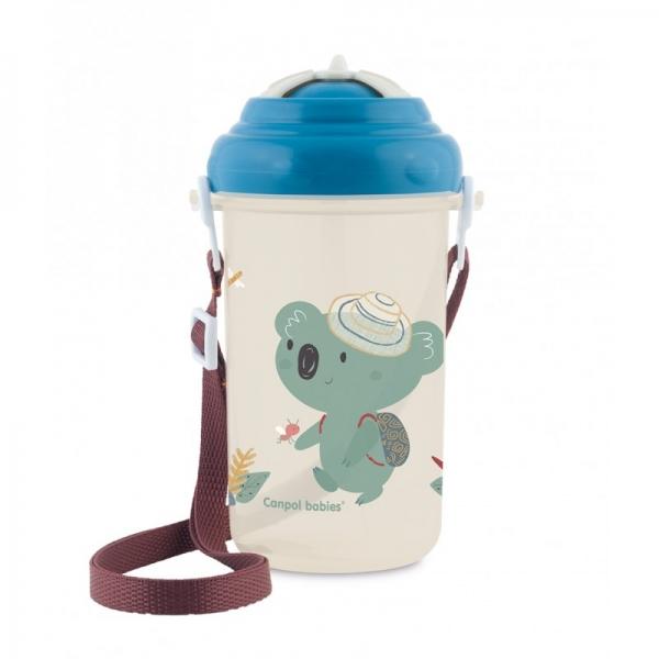 Canpol babies Športová fľaša so slamkou Adventure - Koala modrá
