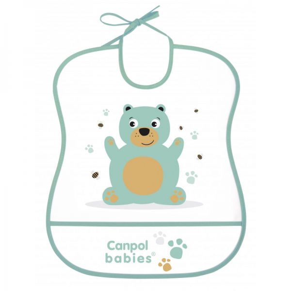 Canpol babies Plastový podbradník s vreckom Cute Animals - Medvedík