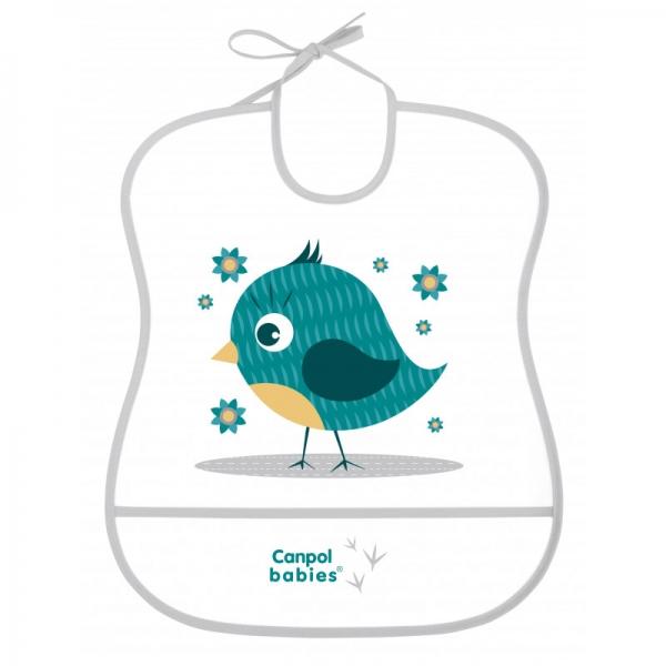 Canpol babies Plastový podbradník s vreckom Cute Animals - Vtáčik