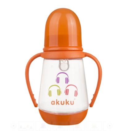 AKUKU Fľaštička 125 ml Sluchadlá - oranžová