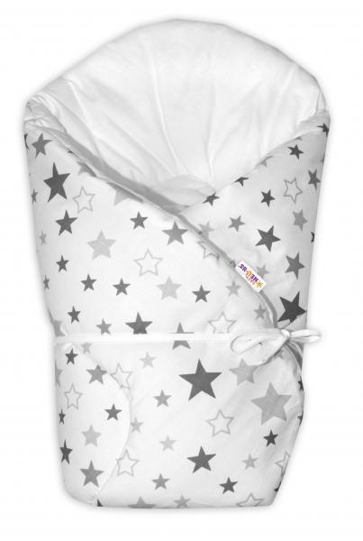 Baby Nellys Zavinovačka na zaväzovanie Hviezdy a hviezdičky  - sivá/grafit na bielom