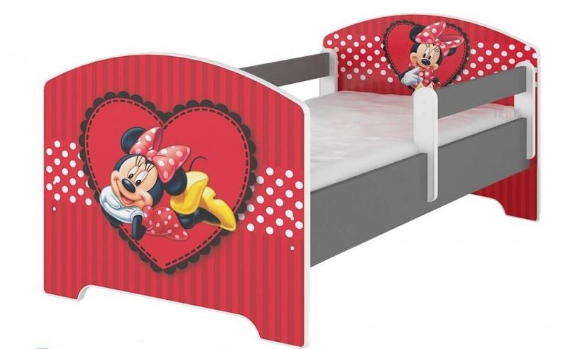 Detská posteľ Disney - Minnie Srdiečko - Bez zábran, 140x70 cm