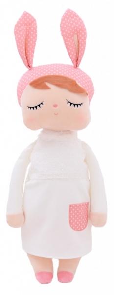 Handrová bábika Metoo XL s uškami v bielych šatičkách, 70cm
