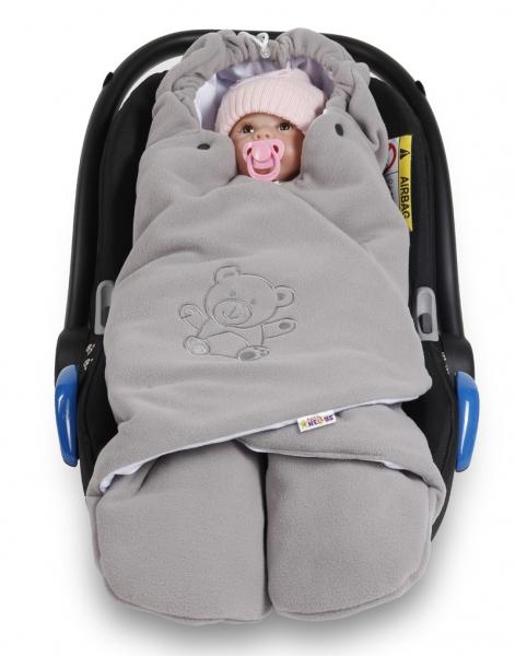 Baby Nellys Detská zavinovačka, fusak polar / bio bavlna - šedá
