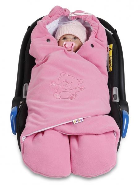 Baby Nellys Detská zavinovačka, fusak polar / bio bavlna - ružová