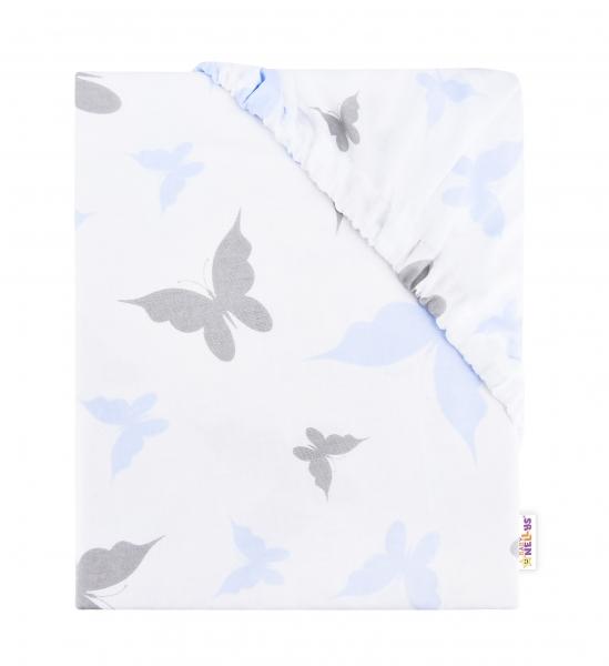 Baby Nellys Detské bavlnené prestieradlo do postieľky, 140x70cm - Motýliky - modré