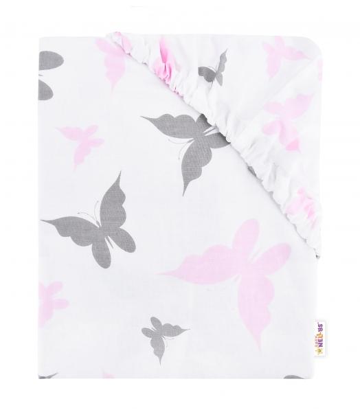 Detské bavlnené prestieradlo do postieľky, 140x70cm - Motýliky - růžové