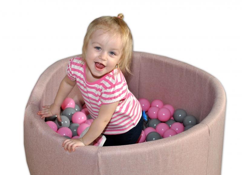 Bazén pre deti 90x40cm  -zig zag ružový, šedá, béžová s balonikami