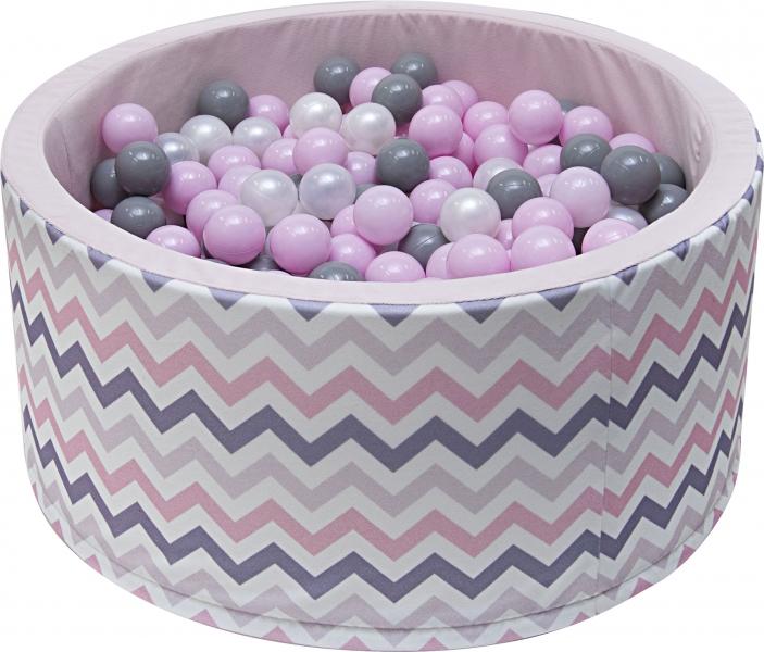 NELLYS Bazén pre deti 90x40cm  -zig zag ružový, šedá, béžová s balonikami, Ce19