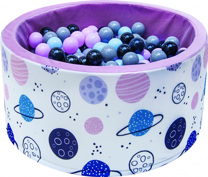 Bazén pre deti 90x40cm - planety, ružový s balonikami