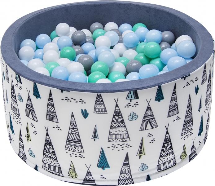 Bazén pre deti 90x40cm - teepee, šedý s balonikami