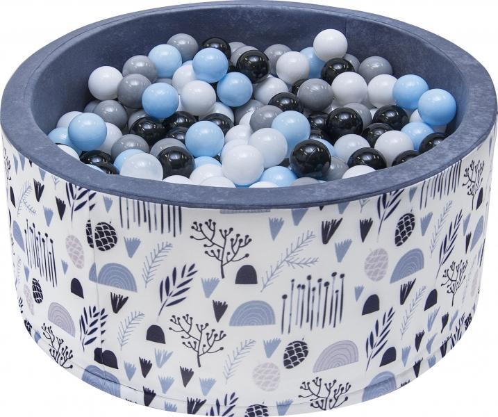 Bazén pre deti 90x40cm - lúka, šedý s balonikami