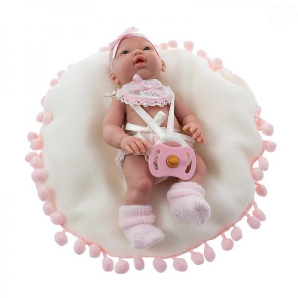 Nines Bábika mini Baby na vankúšiku - ružová