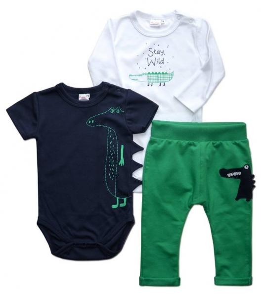 K-Baby Sada 1 x body dl. rukáv, 1 x body kr. rukáv + 1 x tepláčiky - krokodíl, veľ. 68-68 (4-6m)