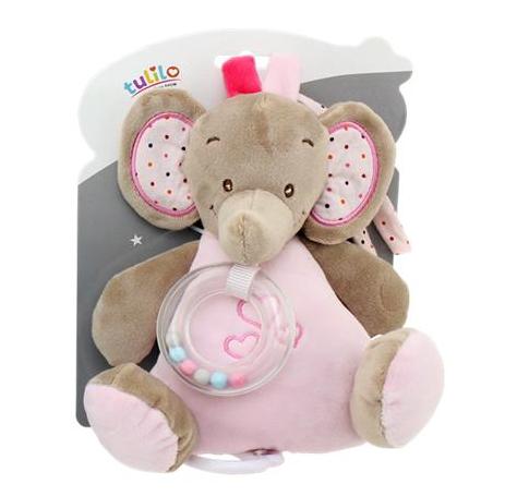 Tulilo Závesná plyšová hračka s melódiou Slon - ružový, K19