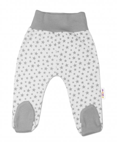 Bavlnené dojčenské polodupačky Baby Nellys ® - smetanové, mini hviezdičky - sivé, veľ. 74-74 (6-9m)
