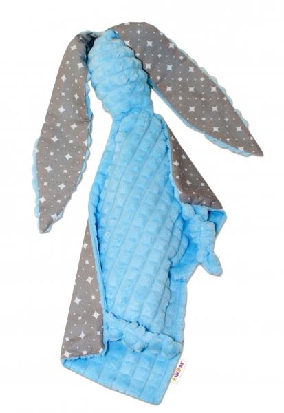 Baby Nellys  Přítulníček králiček, Minky + bavlna - modrý