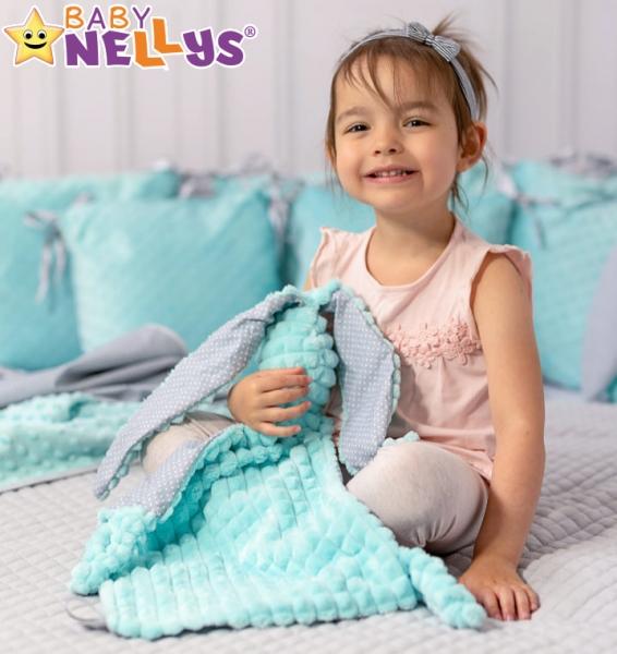 Baby Nellys  Maznáčik zajačik, Minky + bavlna - mätový