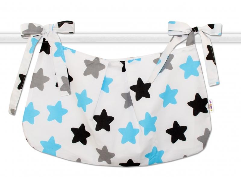 Vreckár na hračky Farebné hviezdičky - modré