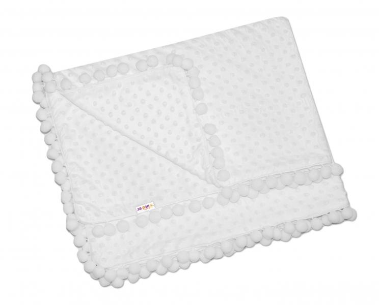 Baby Nellys Luxusná deka Minky s brmbolcami 100x75cm - biela/biele bambuľky