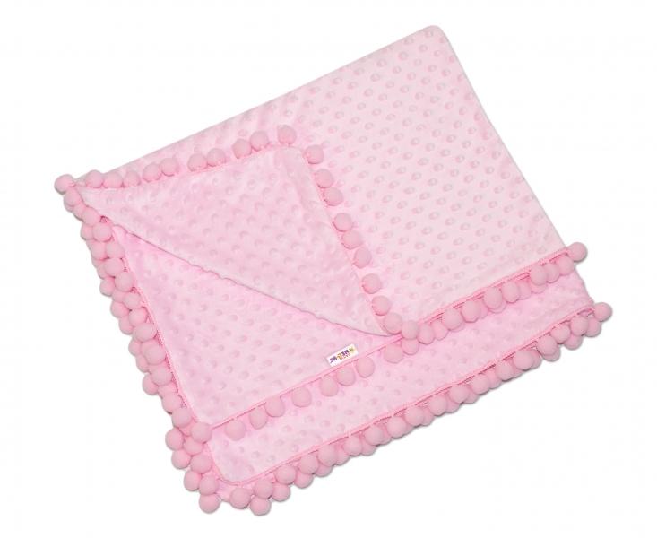 Luxusná deka Minky s brmbolcami 100x75cm - ružová/ružové bambuľky
