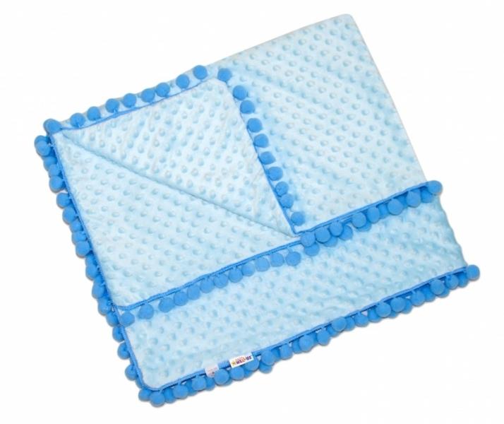 Luxusná deka Minky s brmbolcami 100x75cm - sv. modrá/modré bambuľky