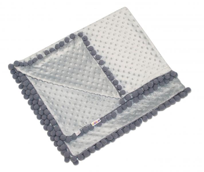Luxusná deka Minky s brmbolcami 100x75cm - sv. sivá/sivé bambuľky
