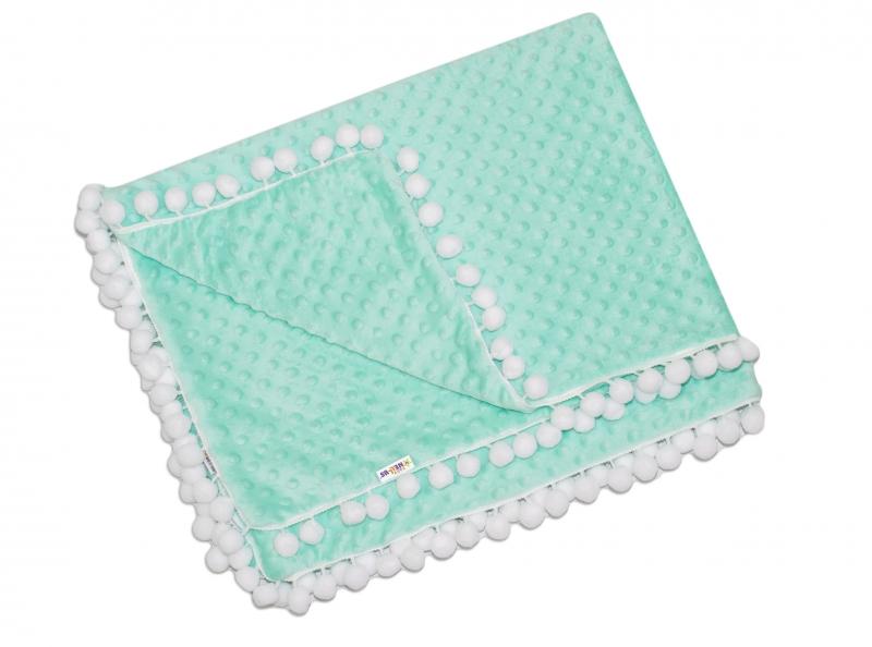 Luxusná deka Minky s brmbolcami 100x75cm - mätová/biele bambuľky