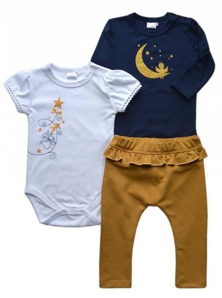 K-Baby Sada 1 x body dl. rukáv, 1 x body kr. rukáv + 1 x tepláčiky - Víla, veľ. 68-68 (4-6m)