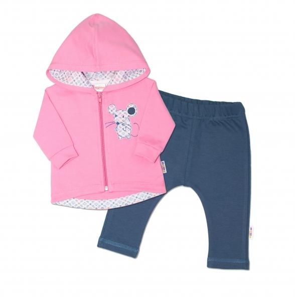 K-Baby Tepláková súprava s kapucňou Myška - ružová/jeans, veľ. 80-80 (9-12m)