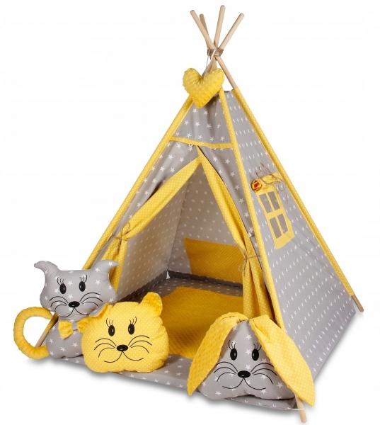 Baby Nellys Stan pre deti típí s veľkou výbavou - sivý, žltý