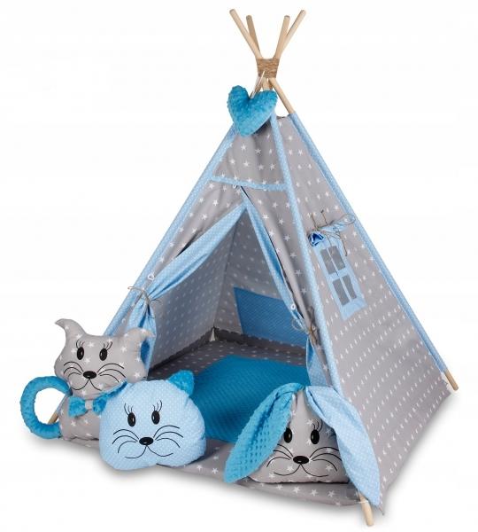 Baby Nellys Stan pre deti típí s veľkou výbavou - sivý, modrý