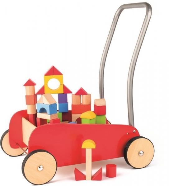 Woody Drevený vozík s drevenými kockami - červený