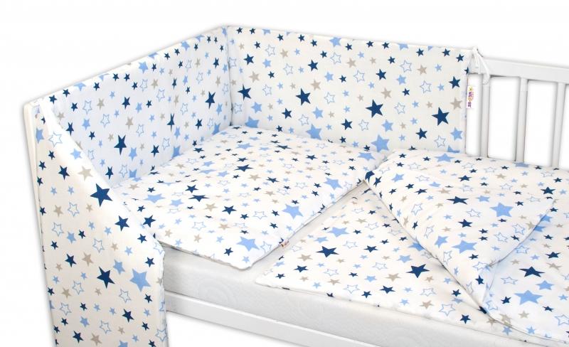 3-dielna sada - mantinel s obliečkami Hviezdy a hviezdičky - modrá / granát na bielom, 120x90 cm