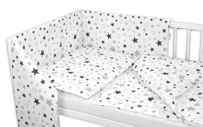 3-dielna sada - mantinel s obliečkami Hviezdy a hviezdičky - sivá / grafit na bielom