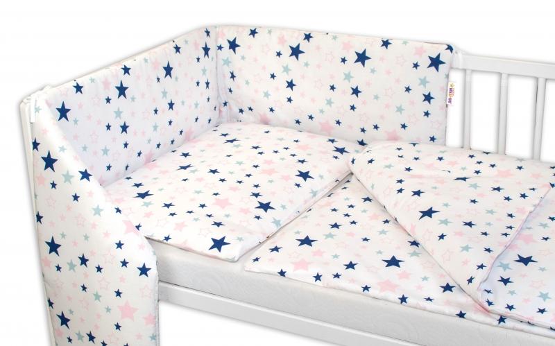 3-dielna sada - mantinel s obliečkami Hviezdy a hviezdičky - ružová / granát na bielom, 120x90 cm
