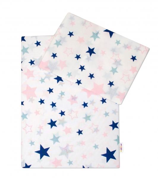 3-dielna sada - mantinel s obliečkami Hviezdy a hviezdičky - ružová / granát na bielom